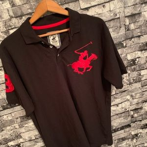 Men's Black & red shortsleeved polo